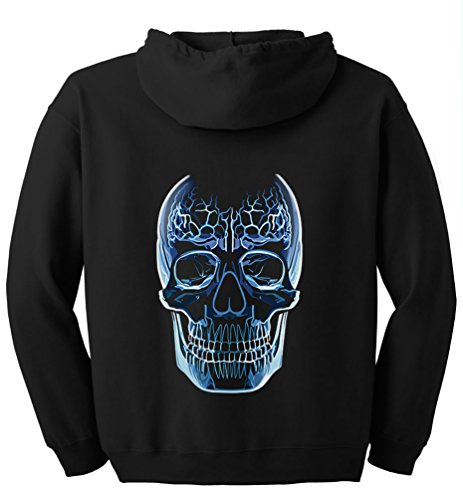 TshirtsXL Big Men's Glass Skull Graphic Full Zip Hoodie, 4X, Black