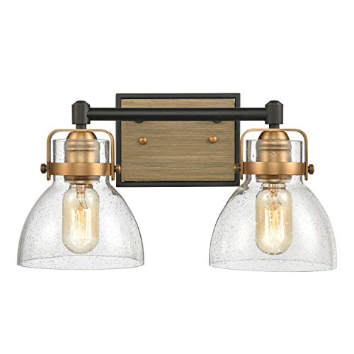 WILDSOUL 40062BK 2-Light Bathroom Vanity Light Fixtures, Modern Farmhouse Rustic Wood Glass Bath Mirror Lighting Wall Sconce, Handblown Dome Clear Seeded Glass, Matte Black and Brass Finish, 15