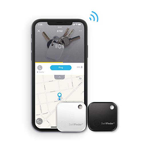 SwiftFinder ST02+,Key Finder,Phone Finder [Replaceable Battery with Long Standby Time] Bluetooth Tracker for Keys,Wallet,Bag,Smart Tag with App Control (2-Pack)