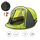 Sunnychic Automatic 2-3 Persons Family Camping Tent, 3 Seconds Automatic Opening Waterproof Sun