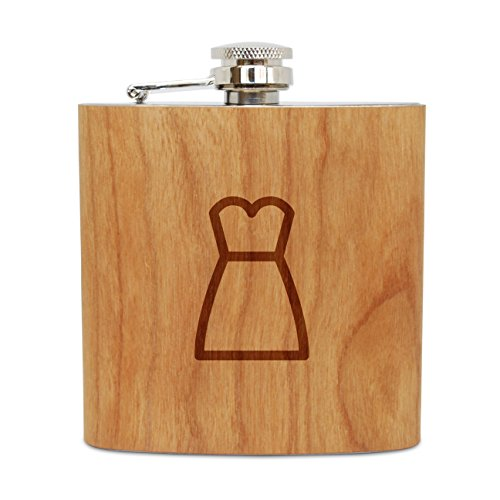 (WOODEN ACCESSORIES COMPANY Cherry Wood Flask With Stainless Steel Body - Laser Engraved Flask With Strapless Dress Design - 6 Oz Wood Hip Flask Handmade In USA )