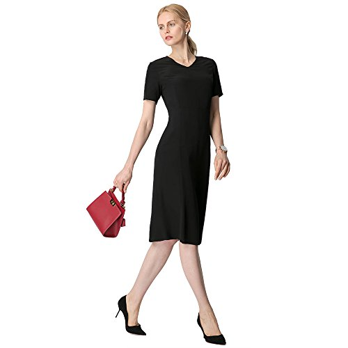 LilySilk Silk Dresses For Women Short Sleeve Natural Mulberry 18MM Get Attention In Alluring Work Office Tunic Dress Black XXL/18-20 (Natural Dress Silk)