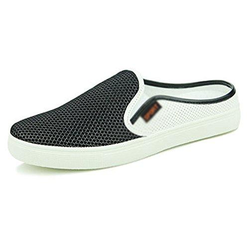Sandals MAZHONG Men's Summer Half Slippers Mesh Shoes Breathable Men's Shoes Slippers No Heel Mesh Shoes Lazy Shoes (Color : White, Size : EU39/UK6.5/CN40) Black