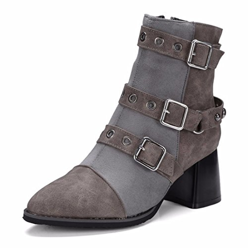 buckle belt boots yards winter short boots big Women's Terry Grey motorcycle Twx5EB4qI