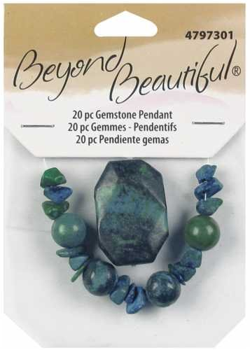 (Cousin Beyond Beautiful Naturals - Pendant W/Beads 20PK/Green Turquoise)