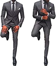 Men's 2 Pieces Slim Fit Wedding Groom Groomsmen Suit Tuxedos Prom Party Business Suit with Tapered Bo