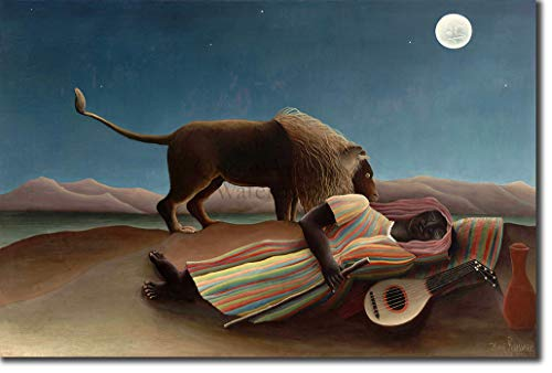 - Introspective Chameleon Henri Rousseau - The Sleeping Gypsy (1897) - Reproduction of a Classic Painting - Photo Poster Print Art Gift - Size: 12 x 8 Inches (30x20 cm)