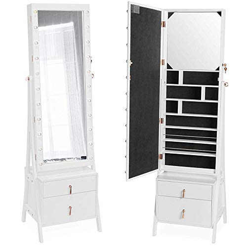 Blue Storage Armoire - Beautify Lockable Floor Standing Make Up and Jewelry Cabinet Organizer Armoire Storage with 2 Drawer, Inside Mirror & LED Warm Lights (White Illuminated)