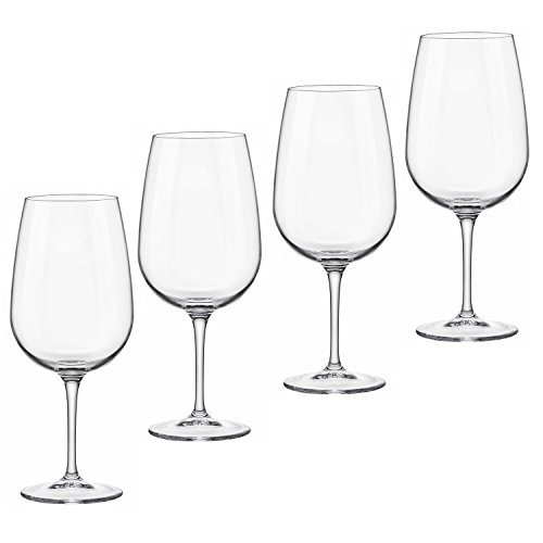 Bormioli Rocco Spazio 17 oz. Large Wine Glass - Set of 4 - Great for Red Wine and White Wine - Great for Entertaining and as Gift - Lead Free Made in Italy Wine Glasses