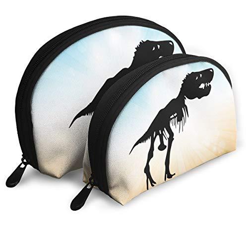 T Rex Skeleton Dinosaur Cosmetic Bags Toiletry Bag Women's Girl's Half Moon Travel Toiletry Organizer
