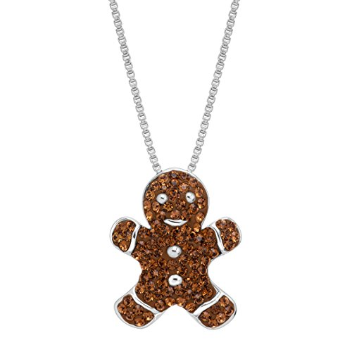 Crystaluxe Gingerbread Man Cookie Pendant Necklace with Swarovski Crystals in Sterling Silver ()