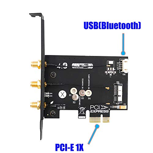 Amazon.com: WiFi + Bluetooth 4.0 Card to PCI-E x1 Adapter Card PC/Hackintosh Without BCM943224PCIEBT2/bcm94360CS2/BCM943602CS (black): Computers & ...
