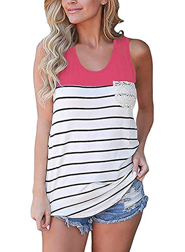 Fronage Women's Summer Color Block Tunic Tops Striped Racerback Blouses Cami Tank Tops Sleeveless T-Shirts (XL, Rose - Tank Striped Red Racerback