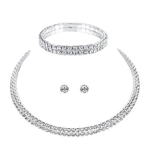 mecresh Wedding Bridal 2 Row Rhinestone Crystal Jewelry Sets for Women (1 Set Earrings&Necklace&Bracelet)