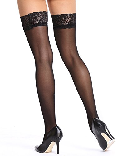 Amoretu Women's Sheer Lace Thigh-High Stockings Hold up Nylon Pantyhose Black (Lace Top Thigh High Pantyhose)