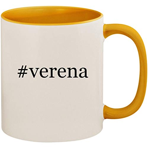 #verena - 11oz Ceramic Colored Inside and Handle Coffee Mug Cup, Golden Yellow