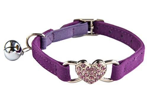 Purple Heart Bling Cat Collar with Safety Belt and Bell 8-11 Inches