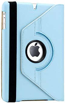 Gearonic 360 Degree Rotating PU Leather Case Cover with Swivel Stand for iPad mini, Light Blue (AV-5133LPUIB)