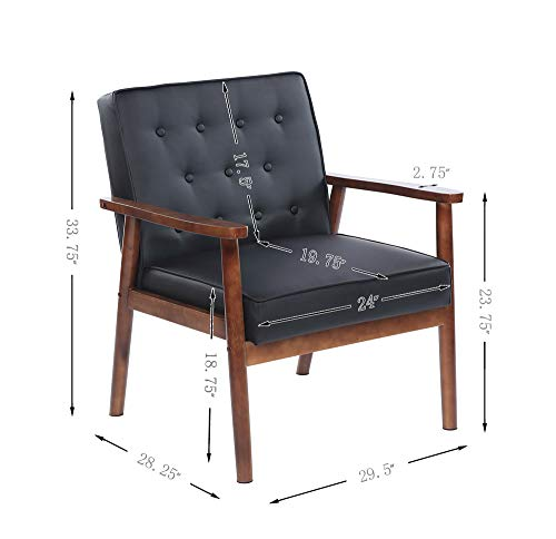 - 75x69x84CM)400 lbs League Executive Guest Chair Guest Reception Chairs Wooden Lounge Chair Mid-Century Button Tufted Arm Chair Retro Accent Single Sofa Chair Seat