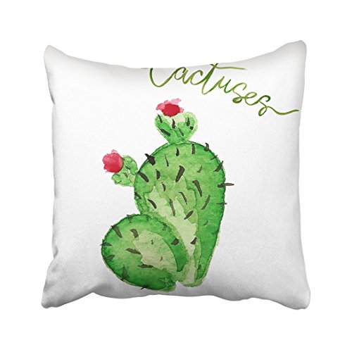 Botanical Clipart (Emvency 20X20 Inch Decorative Throw Pillow Cover Polyeste Green Tropical Watercolor Cactus White Blossom Botanical Botany Cacti Cartoon Clipart Cute Cushion Two Sides Pillow Case Square For Home)