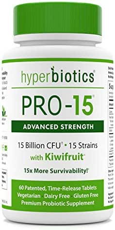 PRO-15 Advanced Strength Probiotics: 3X The CFU Count with Kiwi Extract - 15 Strains - 60 Once Daily Tablets - 15x More Effective Than Capsules with Patented Delivery Technology