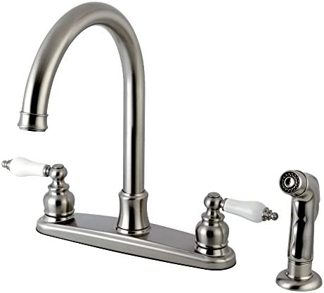 Kingston Brass FB7798PLSP Victorian 8-inch Centerset Kitchen Faucet, Brushed Nickel