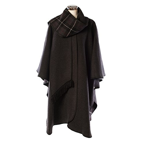 Heritage Of Scotlan Wool Blend Scottish Tartan Reversible Cape Charcoal (One Size) by Heritage Of Scotland