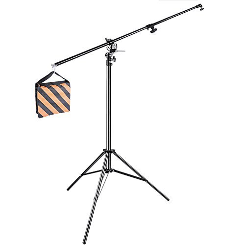 Neewer-13feet390cm-Two-Way-Rotatable-Aluminum-Adjustable-Tripod-Boom-Light-Stand-with-Sandbag-for-Studio-Photography-Video