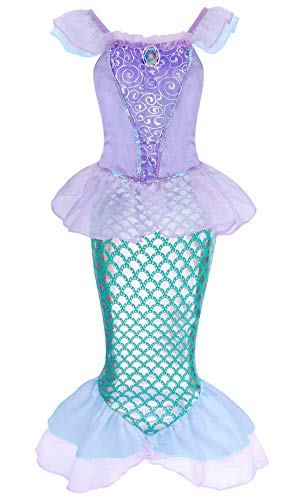 (HenzWorld Little Mermaid Costume Dress Ariel Princess Girls Birthday Party Cosplay)