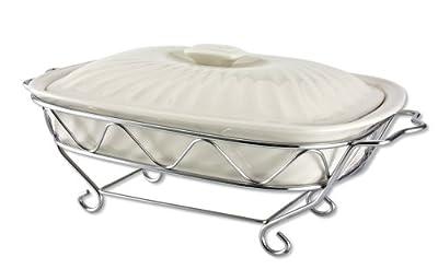Godinger 2-Quart Lidded Ceramic Baker with Serving Stand