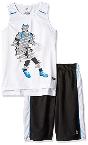 RBX Boys' Big 2 Piece Performance Top and Short Set, Basketball White, 8