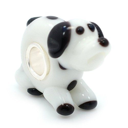 Pro Jewelry 925 Solid Sterling Silver Black and White Dog Glass Charm Bead