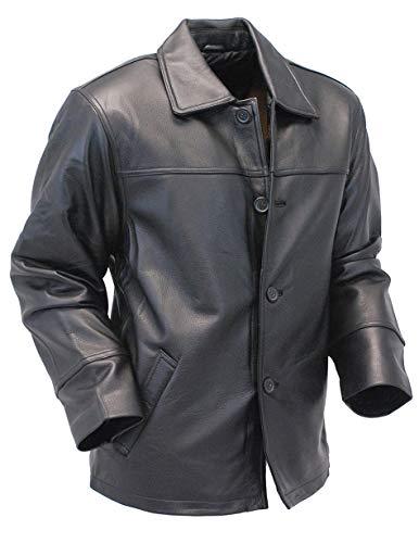 King Leathers Men's Real Lambskin Genuine Leather Shirt Stylish Biker Shirt KMS39 Black