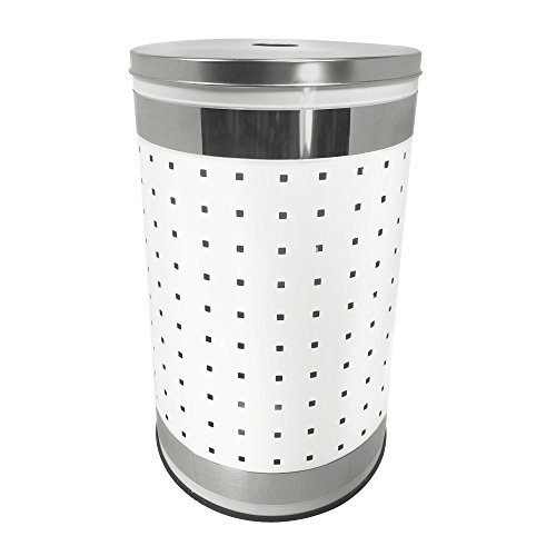Krugg White & Polished Stainless Steel Laundry Bin & Hamper | 50L Ventilated Stainless Steel Clothes Basket with Polished Lid | Life Time Warranty|