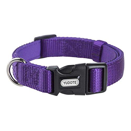 YUDOTE Basic Solid Dog Collars, Heavy Duty Nylon Dog Collar for Medium Dogs, Adjustable, Soft, Thick, Purple, Medium, Neck 12