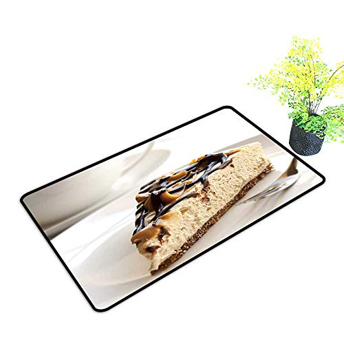 Large Outdoor Door Mats Caramel Chocolate Cheesecake a Coffee Use for Entrance Outside Doormat Patio W17 x H13 INCH