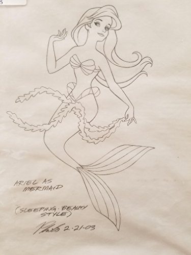 Ariel Disney Concept Drawing From Little Mermaid- Posing (small)- Signed Philo (Mermaid Signed)