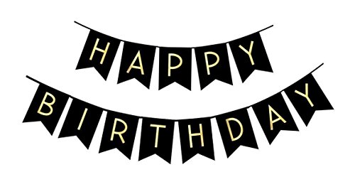 Happy Birthday Party Banner Bunting - Gold Foil Letters for Decoration - Celebration Supplies Flag Decor Garland - Choose Black or White Color - by Jolly Jon Products (Black with Gold)