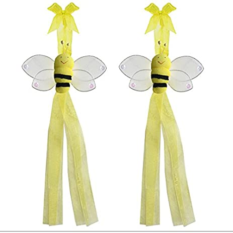 Bumblebee Curtain Tiebacks Yellow Smiling Nylon Bee Pair Set Decorations Window Treatment Holdback Sheer Drapes Holder