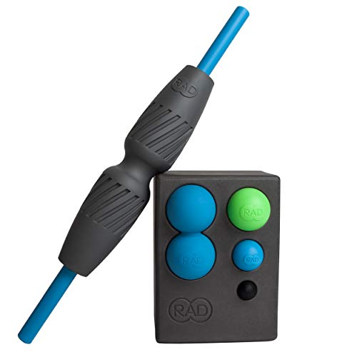RAD All in Kit I Myofascial Release Tool Kit with Block, Massage Balls, Peanut Roller, Massage Stick and Foam Roller for Self Massage, Mobility and Recovery