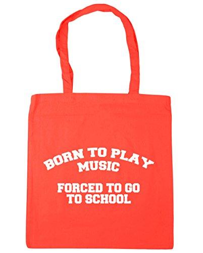HippoWarehouse Born to Play música obligado a ir a la escuela bolso de compras bolsa de playa 42cm x38cm, 10litros Coral