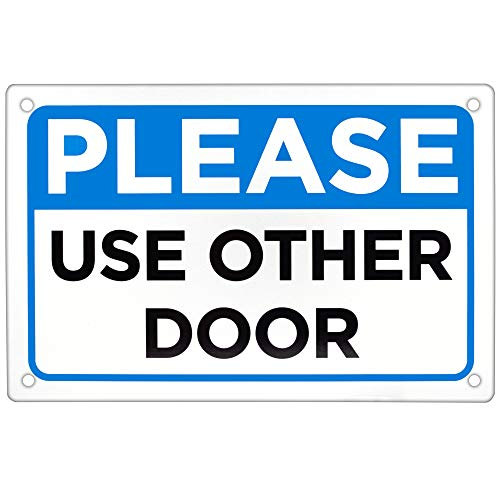 """Please Use Other Door Sign - 18"""" x 12"""" Aluminum Warning Sign for Indoor or Outdoor, Office Door or Wall Mount for Business Traffic Flow by Bolthead Industrial from Bolthead Industrial"""