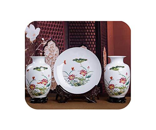 3PCS Ceramic Vases Chinese Flower Ornaments Porcelain Bottle Ceramic Dishes Home Furnishing Decoration Plates ()