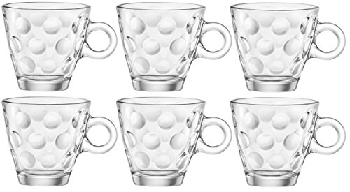 Bormioli Rocco 1316210聽Dotted Glass Espresso Cup Without Saucer, 10聽cl, Pack of - Bormioli Cups Rocco Espresso