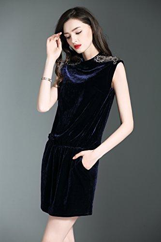 Sleeveless Collared Color Women`s Dresses Solid cotyledon Slim Dress Velvet Neck qw7t4nITA