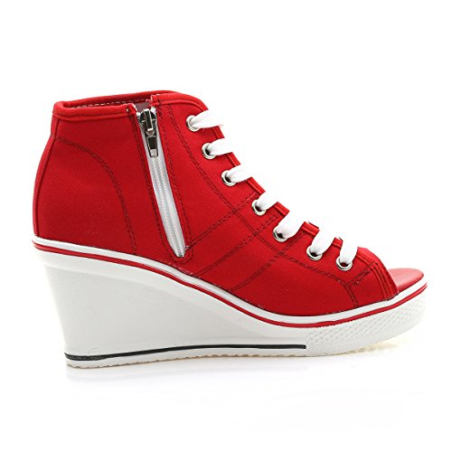 Padgene Womens Canvas High-Heeled Shoes Lace Up Fashion Sneakers Platform Wedges Pump Shoes Red 9Vpb3