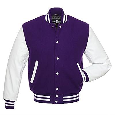 C105 Purple Wool White Leather Varsity Jacket Letterman Jacket