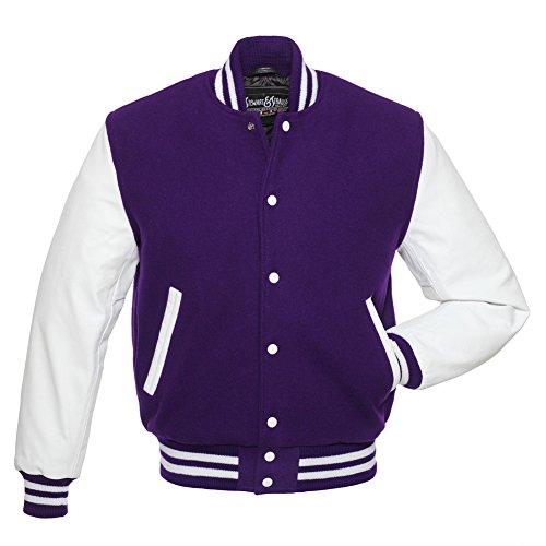 Varsity Letterman Jacket - Purple Wool & White Leather - Medium -