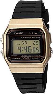 Casio Men's 'Classic' Quartz Metal and Resin Casual Watch, Color:Black (Model: F-91WM-9ACF)