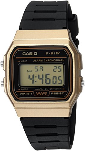 Casio Men's 'Classic' Quartz Metal and Resin Casual Watch, Color:Black (Model: F-91WM-9ACF) - Mens Quartz Black Resin